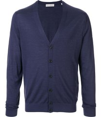 gieves & hawkes loose fit cardigan - blue