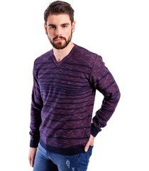 suéter  malhas g'dom listrado azul clássico/bordô - kanui