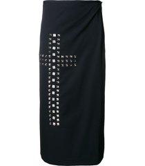 comme des garçons pre-owned studded cross wrap skirt - black