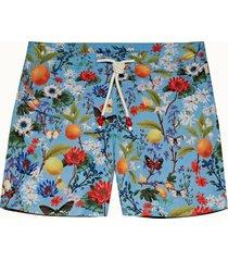 capri blue botanical mid-length drawcord standard swim shorts