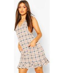 flannel v front pocket frill hem shift dress, brown