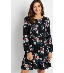 maurices womens black floral long sleeve tiered mini dress