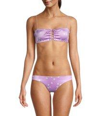 bond-eye women's lace me bandeau bikini top - lilac - size xs