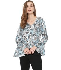 blusa my favorite thing(s) floral azul - kanui