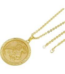 kit medalha são jorge com corrente tudo jóias cadeado folheado a ouro 18k