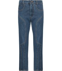 delada moto high-waisted straight leg cropped jeans - blue