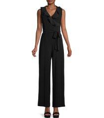 tommy hilfiger women's ruffled wide-leg jumpsuit - black - size 2