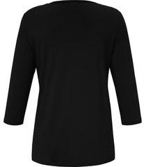 shirt met 3/4-mouwen en dubbele voorkant van anna aura zwart