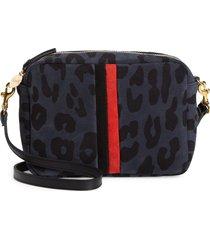 clare v. midi sac leopard print leather crossbody bag - black