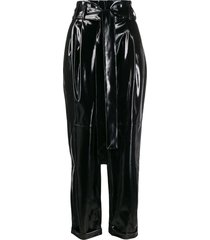 amen belted high waisted trousers - black