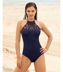 vestido de baño entero con high neck en macramé - swimwear azul leonisa
