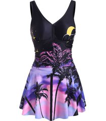coconut palm sunset print ruched skirted tankini swimwear