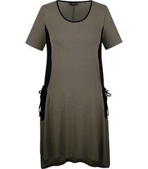 jersey jurk miamoda kaki::zwart