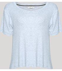 blusa feminina básica canelada manga curta decote redondo cinza mescla claro