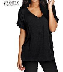 zanzea moda verano t camisas manga corta nueva floja ocasional tes de las tapas más el tamaño de cuello en v camisetas -negro