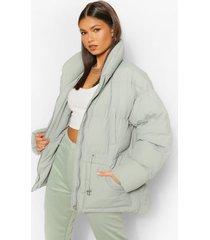 gewatteerde jas met hoge hals en taille detail, sage