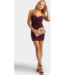 sita ruched glitter dress - purple