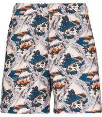 orlebar brown bulldog summer scene swim shorts - blue