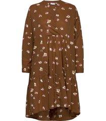 dress w. long sleeves and pocket knälång klänning brun coster copenhagen