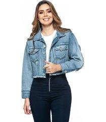 chaqueta oversize denim detalle mujer marca trucco's