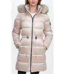 dkny high-shine faux-fur-trim hooded puffer coat, created for macy's