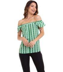 blusa kinara crepe estampada ciganinha feminina