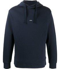a.p.c. long sleeve printed logo hoodie - blue