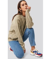 na-kd cable knitted oversized sweater - beige