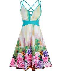 plus size flower peacock feather cross back cutout dress