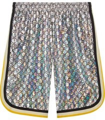 gucci laminated sparkling gg jersey shorts - silver