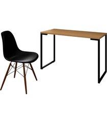 mesa escrivaninha fit 120cm natura e cadeira charles ft1 preta - mpozenato