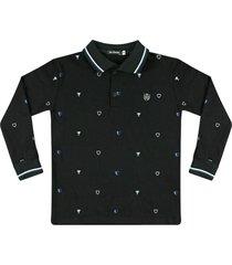 camiseta polo piquet estampada ser garoto preta - preto - menino - algodã£o - dafiti