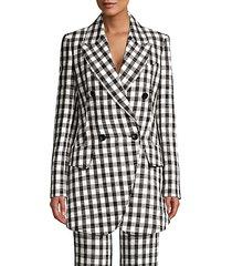 plaid linen-blend blazer jacket