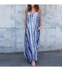 zanzea de rayas bolsillos vestido de verano de las mujeres con cuello en v del tirante de espagueti del vestido largo azul claro -azul claro