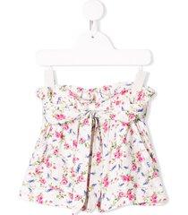 monnalisa floral print belted shorts - white