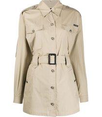 dolce & gabbana short belted trench coat - neutrals