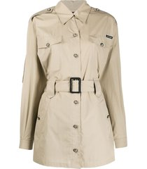 dolce & gabbana short belted trench coat - neutrals