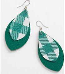 maurices womens green & white plaid teardrop earrings