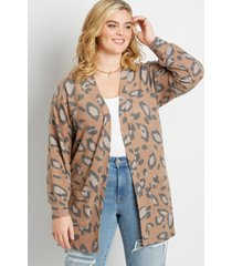 maurices plus size womens leopard open front cozy pocket cardigan brown