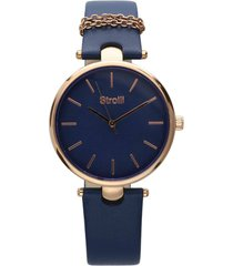 pigalle orologio in acciaio gold e cinturino blu con catenina con quadrante blu per donna