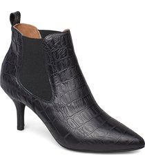 agnete chelsea croco shoes boots ankle boots ankle boots with heel svart shoe the bear