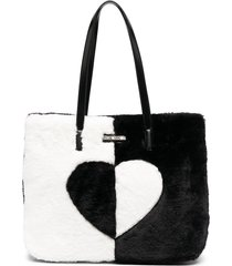 love moschino faux fur two-tone tote bag - black