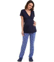 pijama amamentação maternidade manga curta corações luna cuore marinho p
