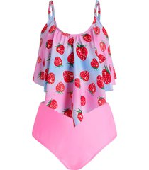 plus size strawberry print overlay tankini swimwear