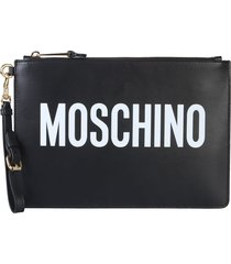 moschino clutch with logo print