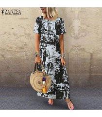 vestido camisero estampado floral zanzea para mujer vestido étnico vintage de verano -negro