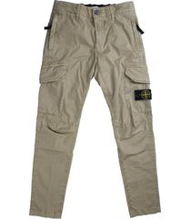 stone island cotton trousers with beige pockets