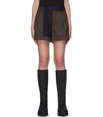 contrast trim plaid shorts