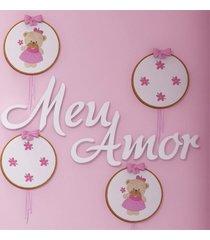 """painel decorativo mdf """"meu amor"""" 46cm grã£o de gente branco - branco - menina - dafiti"""