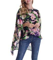 flower print cape blouse